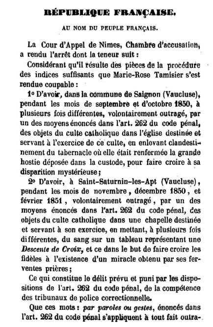Arrêt de la Cour d'Appel de Nîmes, 29 juillet 1851