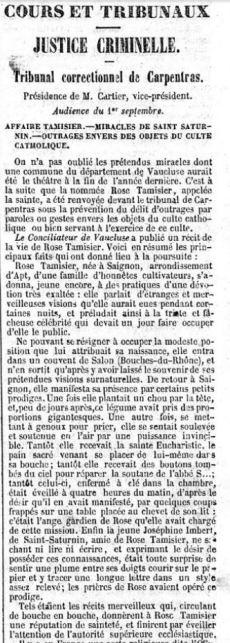 Récits des prodiges de Rose dans le Constitutionnel, édition du 7 septembre 1851