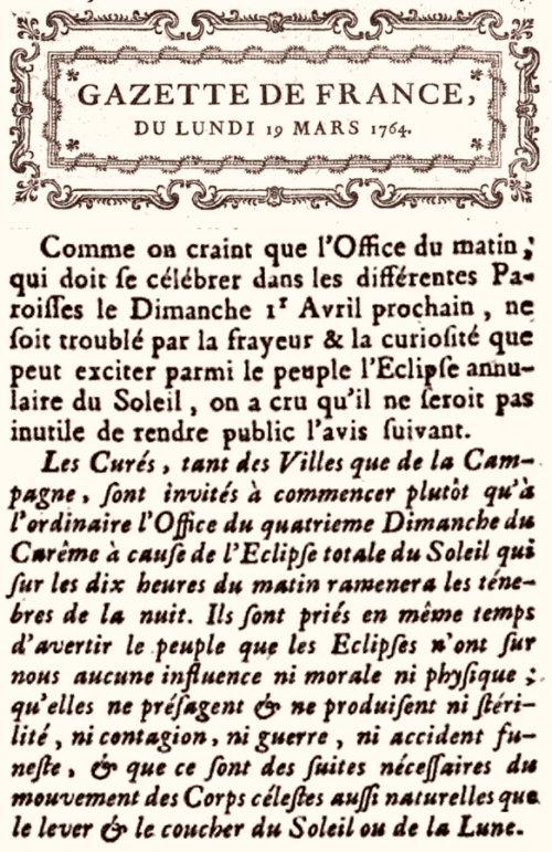 Extrait Gazette de France du 19 mars 1764