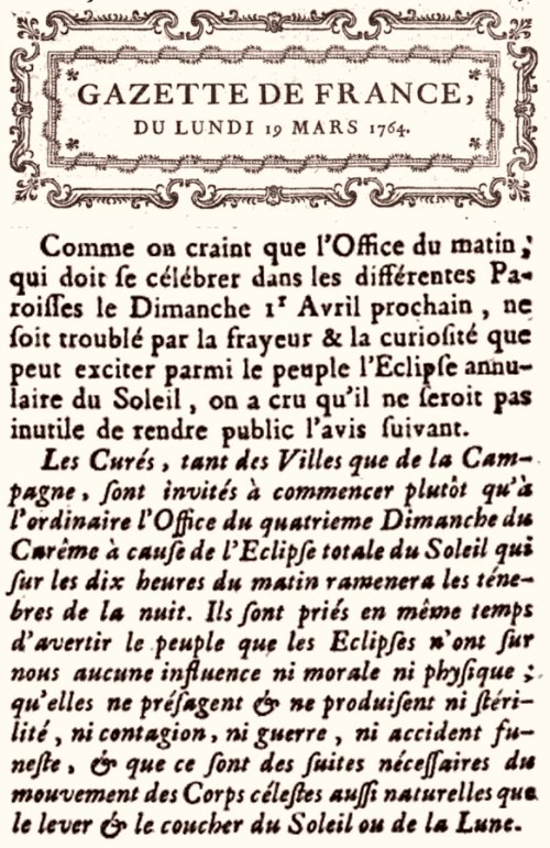 Extrait Gazette de France du 19 mars 1764